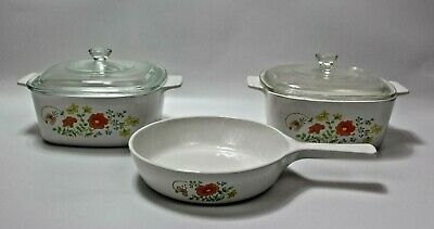 "VTG 5 PC Set ""Wildflower"" Corning Ware 1.5 Liter Casserole Dishes & Pan w/ Lids"