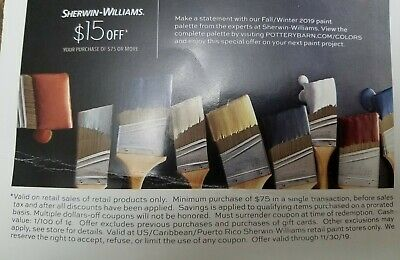 $15 Off $75 At Sherwin Williams Coupon - Sent Fast! - Exp 11-30-19