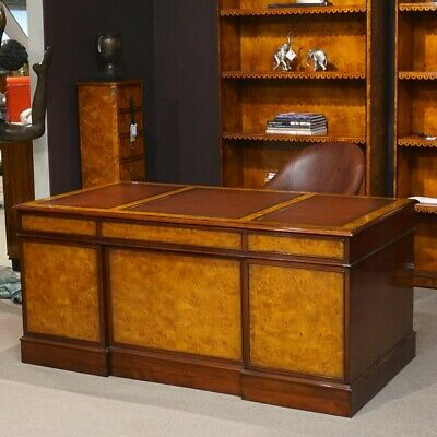 Mahogany wood with Burl (birdseye) Executive Pedestal Desk brown leather top