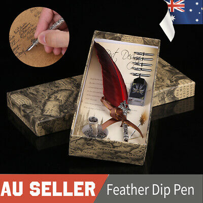 Feather Writing Calligraphy Dip Quill Pen Set Stationery Gift Box w/5 Nibs Set