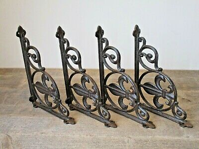4 Fleur De Lis Shelf Bracket Braces Corbels Plant Hangers French Vintage Look
