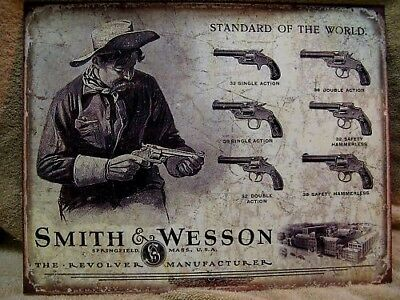Smith Wesson Revolver Gun Metal Ad Sign Western Picture Home Bar Cave Decor Gift