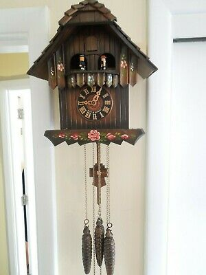 German Black Forest Cuckoo Clock Swiss Musical w/ Dancers Hand Painted