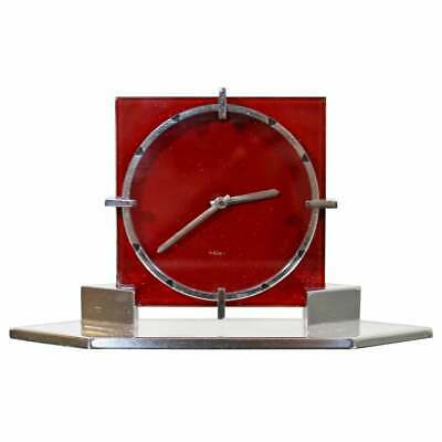 Art Deco French Chrome 8 Day Mantle Shelf Clock Red