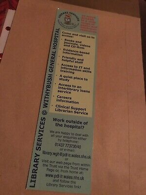 Cardboard Bookmark. Library Services. Withybrush General Hospital.
