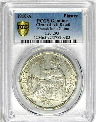 1910 A French Indo China, PCGS AU Details - Cleaned, KM 5a.1, Key Date