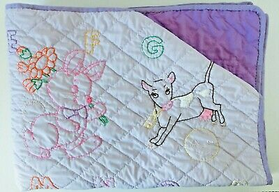 Handmade Lavender Baby Crib Quilt Blanket Embroidered Animal Hand Quilted Purple