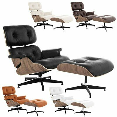 Lounge Eames Chair & Ottoman With Top Grain Leather Palisander Wood Walnut