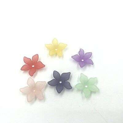 100pcs DIY Frosted Acrylic Flower Spacer Beads Beads Cap Jewelry Making 22mm