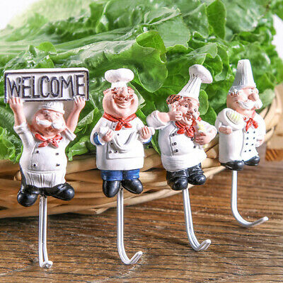 Cartoon Chef Resin Strong Adhesive Wall Door Hook Sticky Hooks for Kitchen
