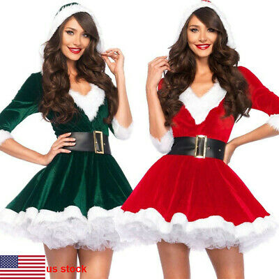 Women Christmas Fancy Dress Sexy Santa Claus Hoodie Party Cosplay Costumes New