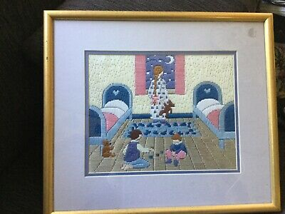 36x32 cm framed finished LONGSTITCH embroidery KIDS ROOM theme UNDAMAGED