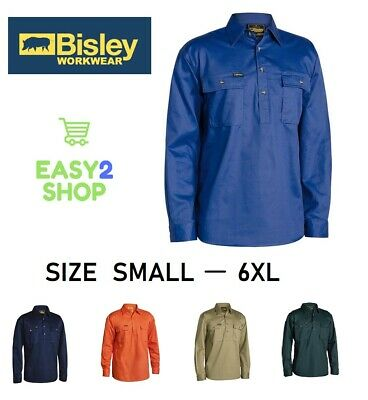 BISLEY Mens Closed Front Cotton Drill Work Shirt LONG SLEEVE BSC6433