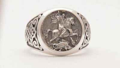 Solid 925 Silver Varmeil Signet Fine Jewelry Sovereign Medieval Fine Men's Ring