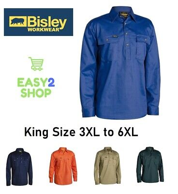 BISLEY BIG MANS Closed Front Cotton Drill Work Shirt LONG SLEEVE BSC6433