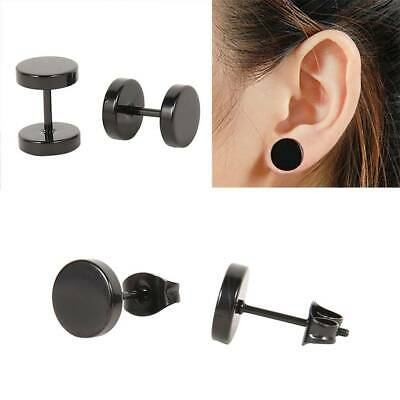 Black Flat Round Barbell Earrings Plug Gym Mens Mm Stud Stainless Steel 6 Pairs