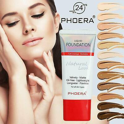 PHOERA Liquid Foundation Fashion lasting Makeup Full Coverage Velvety Matte