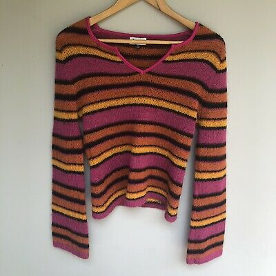 STRIPE KNIT 90s Fashion Fair GRUNGE Knitted Jumper Wool Sweater Bell Sleeves M L
