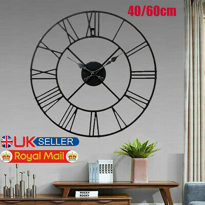 40/60cm Extra Large Roman Numerals Wall Clock Big Giant Open Face Round DIY