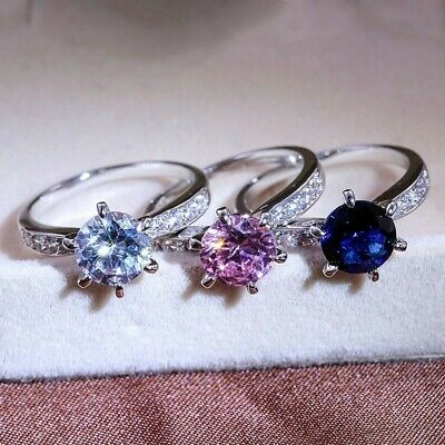 3 Colors 925 Silver Wedding Rings Set Women Jewelry Free Shipping Size 6-10