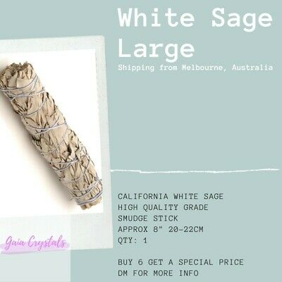 White Sage Smudge Stick California Handmade Large 20cm Incense Gaia Crystals $17