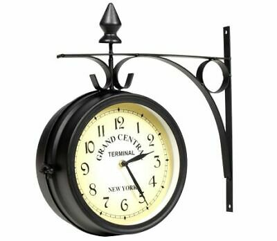 Black Double Sided Wall Mounted Hanging Clock Indoor / Outdoor Metal Garden Two