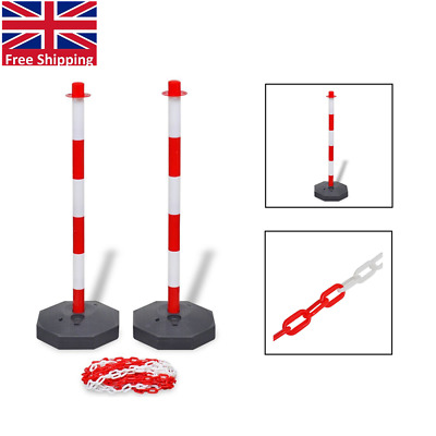 Chain Security Bollards Post Guard Barrier Set Kit with 10 m Plastic Chain P2U0