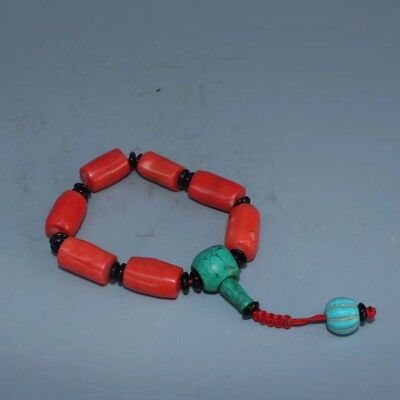 Collectible Handwork tibet turquoise coral beads chain bracelet