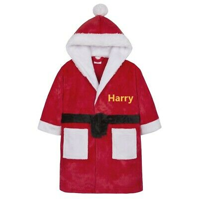 Personalised XMAS Kid Dressing Gown Robe  Boy/Girl Christmas Fleece Plush