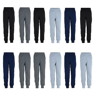 Kids Plain Pants Boys Tracksuit Bottoms Girls Fleece Trousers Bundle (Pack of 2)