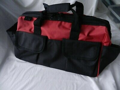 """Sturdy Canvas Tool Bag. Wide zip opening.19"""" x 12"""" Rigid Base.Red,Black."""