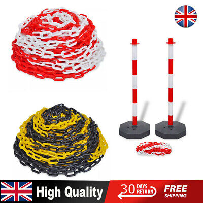 30 m Plastic Warning Chain Red/White + Chain Post Set with 10 m Plastic Chain