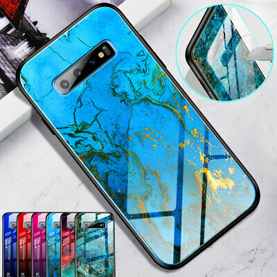 Hyrbid Marble Pattern Temper Glass Case Cover for Samsung S10 S9 S8 Plus/Note 10