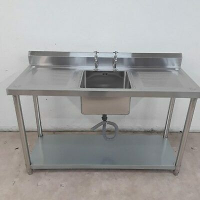 Commercial Sink Stainless Single Bowl Drainer Taps Shelf Diaminox