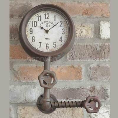 Retro Industrial Wall Clock Pipe design Factory Steam Punk Old Town Garage