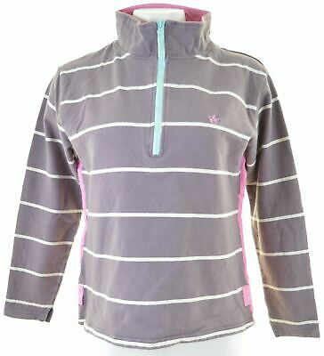 JOULES Girls Zip Neck Sweatshirt Jumper 15-16 Years Purple Striped Cotton  IU08