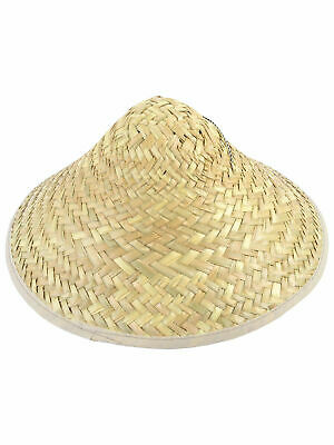 Adult Chinese Oriental Straw Coolie Hat Bamboo Rice Farmer Fancy Dress Accessory
