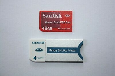 SanDisk 8GB Memory Stick Card Pro Duo PSP Magic Gate + ADAPTER.