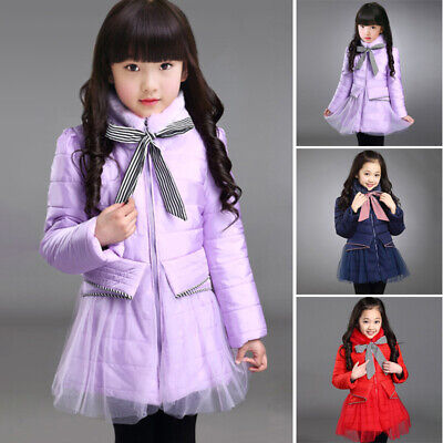 Kid Girls Quilted Hooded Jacket Winter Coat Bowknot Fur Collar Parka Overcoat