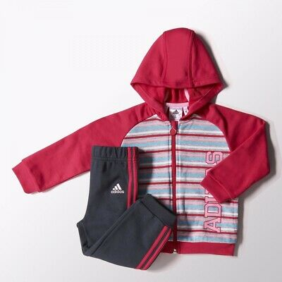 Adidas Baby Girls Hooded Tracksuit /  Jog Suit 3-6 Months 6-9 Months Rrp £35