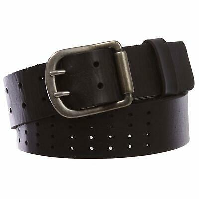 "1 1/2"" (40mm) Hollow Out Soft cowhide full grain leather Double Prong Belt"