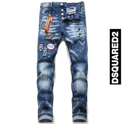 BNWT Dsquared2 Personality Patch Jeans Slim Fit Men's DSQ2 Washed Denim Pants