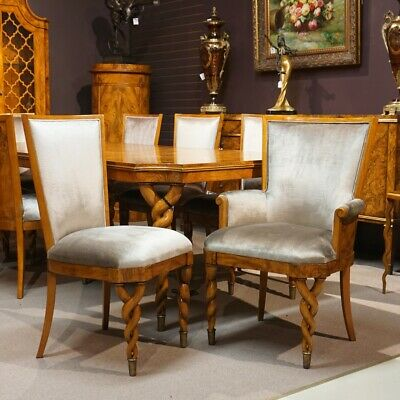 Stunning set of 8 Italian Lombardy style Ash Traditional dining chairs