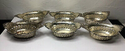 """Set Of 6 - Gorham Sterling Silver Small Pierced Bowl / Dish - 3 7/8"""" - A4780"""