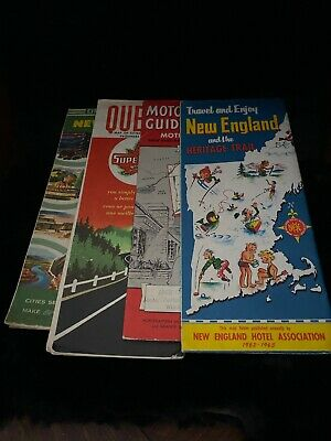 Lot Of 4–Vintage 1950's-60's New England/Canada Road Maps—Travel Maps