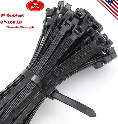 100 pack 8 Inch Black Cable Zip Ties. Heavy Duty Wire Ties with 100 LB Tensile