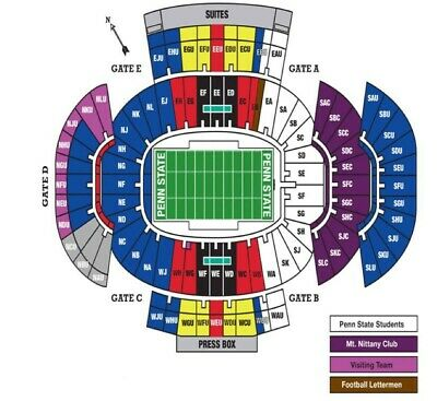 4 Penn State vs Rutgers Football Tickets 11/30/2019 Aisle Seats Includes Parking