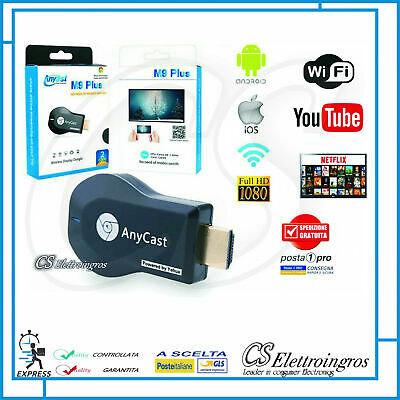 Cromecast Anycast Tv Hdmi Dongle Miracast Wifi  Video Streamer Airplay Ios