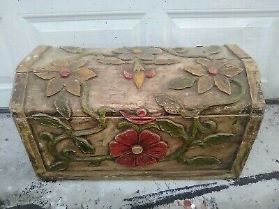 Carved, Painted, Antique Wooden Trunk with Matching Room Dividers/Screens