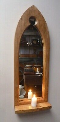 Gothic Arch Solid Wooden English Oak Keyhole Mirror & Shelf 71 cm long Hand Made